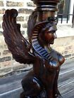 Empire Style Carved Full Figural Mahogany Sphinx/Griffin Pedestal Rare Piece!