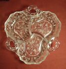 ETCHED DISH GLASS CANDY VINTAGE CLEAR ELEGANT DESIGN AND RELISH DISHES