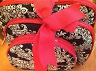 RAYMOND WAITES MAKEUP COSMETIC TRAVEL BAGS (3) NAVY WHITE PAISLEY PINK ZIP   NWT