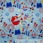 BonEful Fabric FQ Cotton Quilt Blue Red White America*n Girl Food Cup*cake BBQ S
