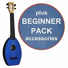 FLEA Ukulele BLUE concert + DENIM Bag + BEGINNER Pack
