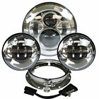 7 Chrome LED Projector Daymaker Headlight + Passing Lights For Harley Touring S