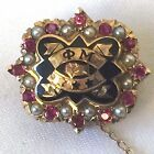 Vintage 10k Yellow Gold Phi Mu Fraternity Sorority Badge Pin Rubies Seed Pearls
