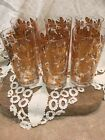 Vintage Culver Gold Leaves Acorns Tumblers Glasses (6) Beautiful 5-1/2