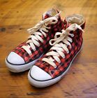 BUFFALO PLAID Flannel Red Black Cotton Grunge High Tops Sneakers Womens 7 375