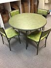 Vintage Cosco Round Folding Game Card Table Gatefold Chairs Green 1970's