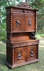 Antique Carved Oak French Louis XIII Hunt Cabinet Bookcase China Hutch