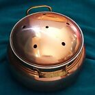 Potpourri Pot; Copper and Metal Brass Handles Made in Taiwan Approx. 6.5 x 4.5