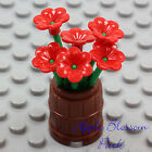 NEW Lego Friends Minifig FLOWER POT BARREL w Red Pansy Flowers Green Plant Stems