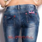 Womens New Skinny Blue Jeans Vintage Sexy Low Rise Hipster UK Motif Size 8 10