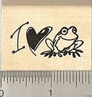 I heart Frog rubber stamp D8615 wood mounted