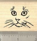 Cat Face rubber stamp D7212 wood mounted