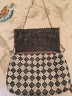 Vintage Black And White Metal Mesh Purse