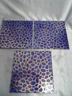 Vtg lot of 3 Blue Gold Hand Painted Italian Ceramic Art Tile Cannara 8