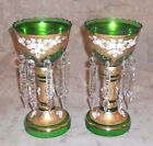 2 ANTIQUE MOSER BOHEMIAN CZECH GOLD ENAMELED GLASS LUSTRES CANDLE LIGHT CRYSTAL