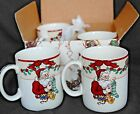 SANTA'S LIST PATTERN FITZ AND FLOYD (4) MUGS IN THE ORIGNAL BOX GREAT CONDITION