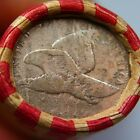 1858 Flying Eagle  Lincoln Wheat Penny on Ends of a Wheat Cent Roll 5657