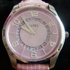 New In Box ALFEX LADIES BIG LINE WATCH ~ Pink Mother of Pearl face ~ Retail $425