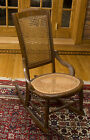 ANTIQUE OAK ROCKING ROCKER CHAIR CANE SEAT
