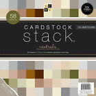 Cardstock Stack 12X12 58 Pkg Neutral Texture Solids W White Core