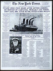 RMS Titanic Sinks New York Times Newspaper Front Page Headline-Art Print - 00185