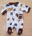 CARTERS PREEMIE FOOTBALL ANIMALS FOOTED SLEEP N PLAY OUTFIT ADORABLE REBORN