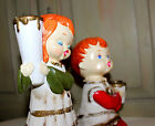 Vintage Candleholders Star Japan Choir Boy and Girl Hand Painted Christmas
