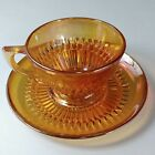 3 Saucers~1940s Jeannette Glass Anniversary Pattern Iridescent Marigold