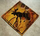 MOOSE STREET CROSSING Caution Hoof Print Road Sign Cabin Wall Home Decor NEW