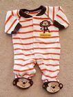 CARTERS PREEMIE ORANGE MONKEY STRIPED FOOTED SLEEP N PLAY ADORABLE REBORN