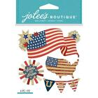 Scrapbooking Crafts Stickers Jolees Dimensional USA Flags Stars Stripes Banner