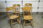 Lot of 4 VTG S BENT BROS Colonial Rock Maple Spindle Back Windsor Side Chairs