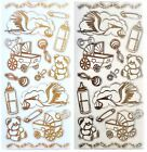 EMBOSSED NEW BABY Peel Off Stickers Stork Teddy Pram Gold Silver Clear Sticker
