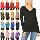 Womens V Neck Long Sleeve Cotton T Shirt Soft Stretchy Top Basic Tee 3058 8003