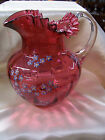 Early 7 1 2 Fenton Ribbed Cranberry Glass Pitcher w Handpainted Forget Me Nots