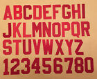 2 Two Inch Red Tackle Twill Sew On Letters and Numbers Adhesive Back
