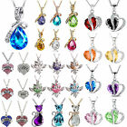 Fashion Women Heart Crystal Rhinestone 925 Silver Chain Pendant Necklace Jewelry