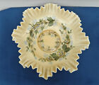 FENTON 15623 13 3 4 DOUBLE CRIMPED IVORY CREST HAND PAINTED CONSOLE BOWL