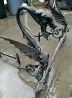 Hubbard Gothic Winged Dragons Cast Iron Fireplace Andirons