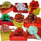 Christmas Gift Pull Bows 5 Wide Set of 9 Red Green Gold Stripes Swirls