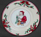SANTA'S LIST PATTERN FITZ AND FLOYD (4) SALAD OR DESERT PLATES GREAT CONDITION