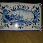 Vintage Hellema  Wallum Holland Blue and White Wind Mill Tin