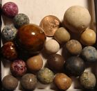 20 Antique Vintage Hand Made Marbles Clay Germany Bennington Shooter Sweet Set