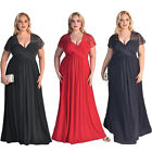 Womens Plus Size Short Sleeves High Waist Evening Cocktail Gown Long Lace Dress
