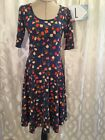 Lularoe Large Nicole Dress Dark Blue With Colorful Abstract Flowers