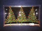 PEGGY KARR GLASS ART Dish Tray 3 Decorated Christmas Trees +Lights 10x6 EXC