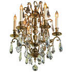 Antique Bronze French Various Size Crystals Large Chandelier Eight Lights c1930