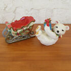 Fitz & Floyd Enchanted Holiday Salt and Pepper Polar Bear Sleigh Christmas