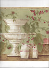 WALLPAPER BORDER KITCHEN BASKETS CUPS STANDS CHERRIES FLOWERS NEW ARRIVAL GREEN