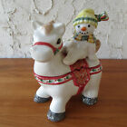 Fitz & Floyd The Flurries Candy Jar Snowman and Horse Christmas Holiday Decor